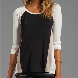 BCBGMAXAZRIA High Low Colorblock Long Sleeve Top
